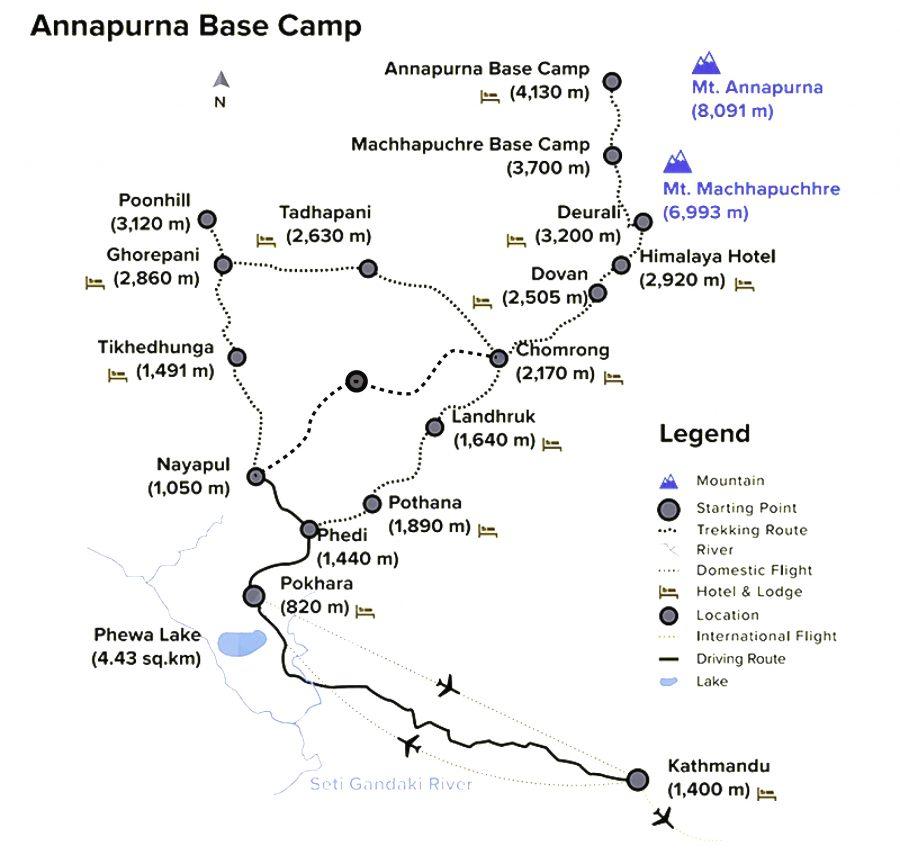 Annapurna Base Camp Trekking Map