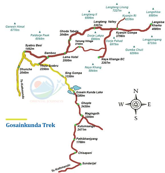 Gosainkunda Trekking Map - Langtang Valley