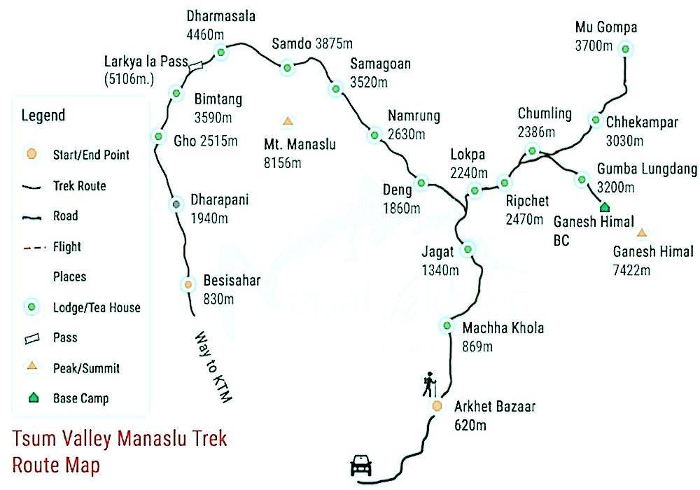 Tsum-Valley-Manaslu-Trek-Map; Tsum Valley Trek;Manaslu Trek;