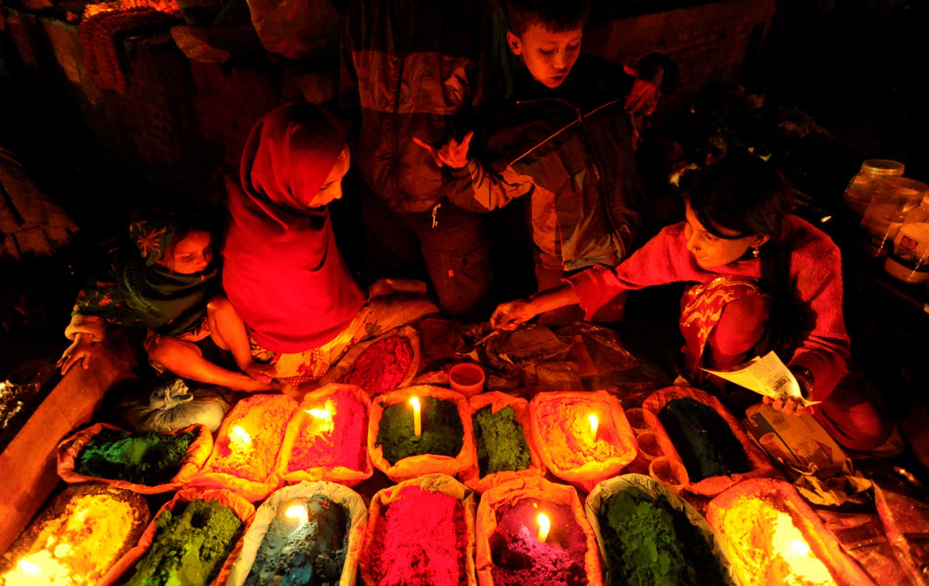 Color marker to kathmandu during the festival of Tihar